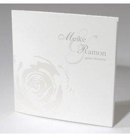 Oudhollandse huwelijkskaart met parelmoer roos