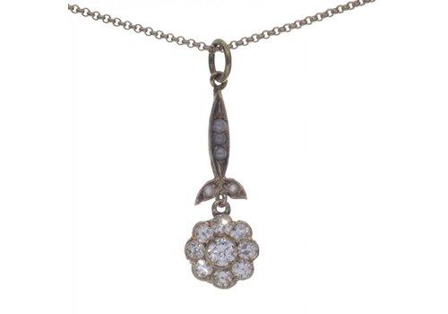 18 krt gouden collier incl. hanger bezet met steenparels en 0.50ct Diamant