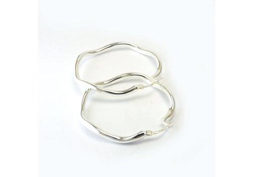 Zilveren creolen Wok 4-45. 45mm