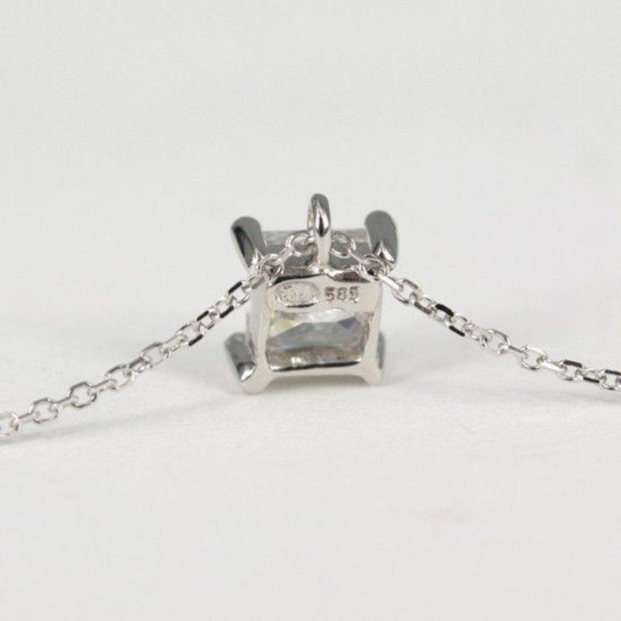 14 karaat witgouden collier met zirkona 4&#215 4