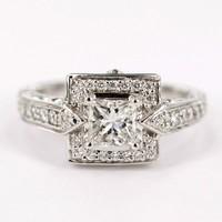 18 karaat witgouden damesring met diamant en briljanten