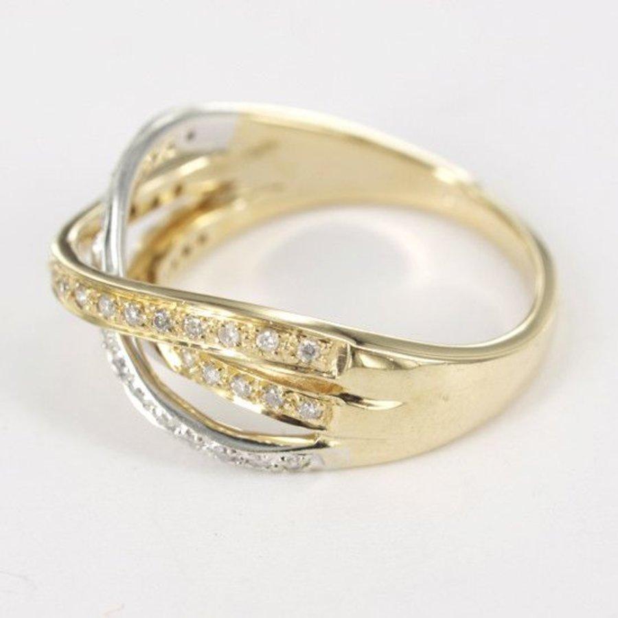 14 karaat bicolor damesring met diamant