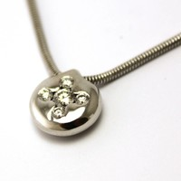 18 krt. wit gouden collier met hanger