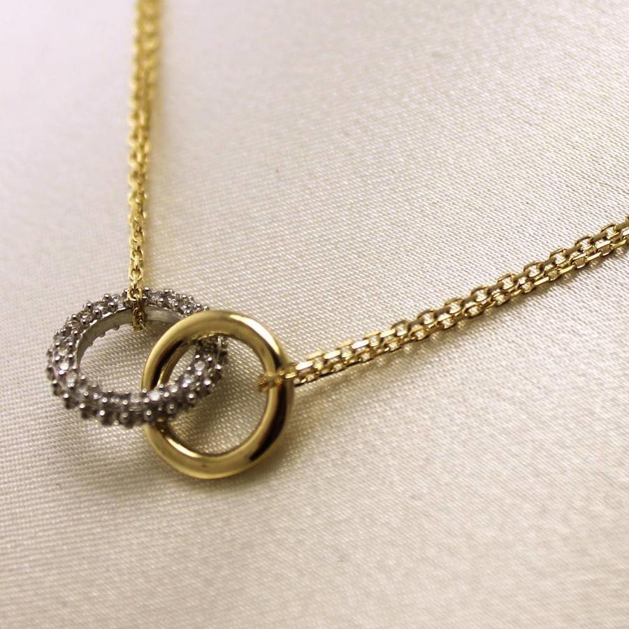 14 krt. bicolor gouden shorty collier