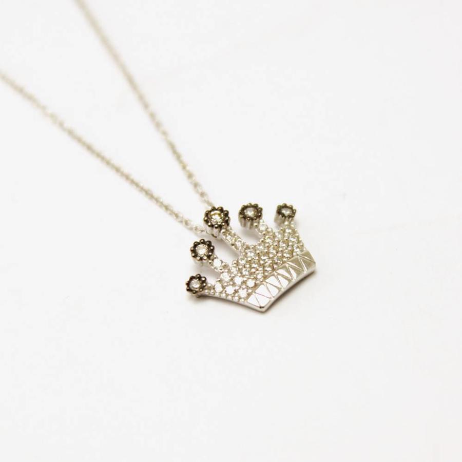 14 krt. wit gouden collier en hanger