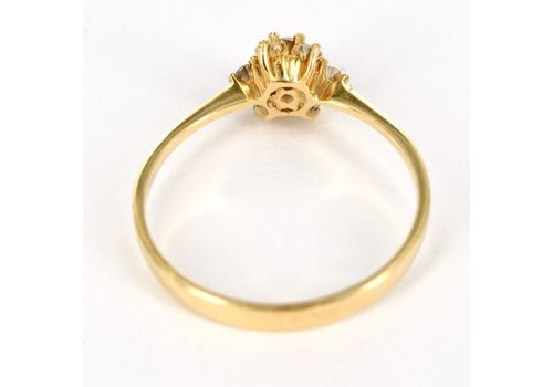 18 karaat geelgouden entourage ring met briljant