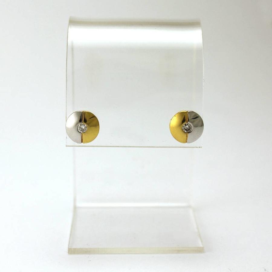 18 krt. bicolor gouden oorknoppen