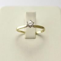 14 krt. geel gouden solitair ring met briljant
