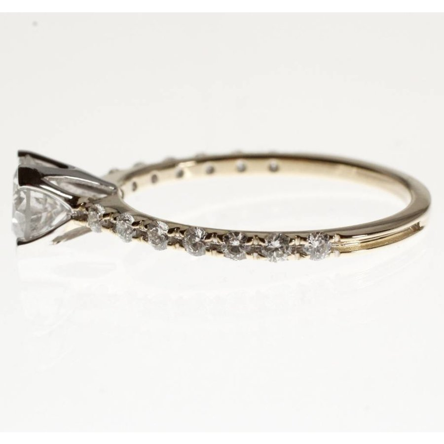 14 karaat bi-colour gouden ring bezet met totaal 1.07ct aan diamant
