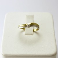 14 krt. bicolor ring met briljant