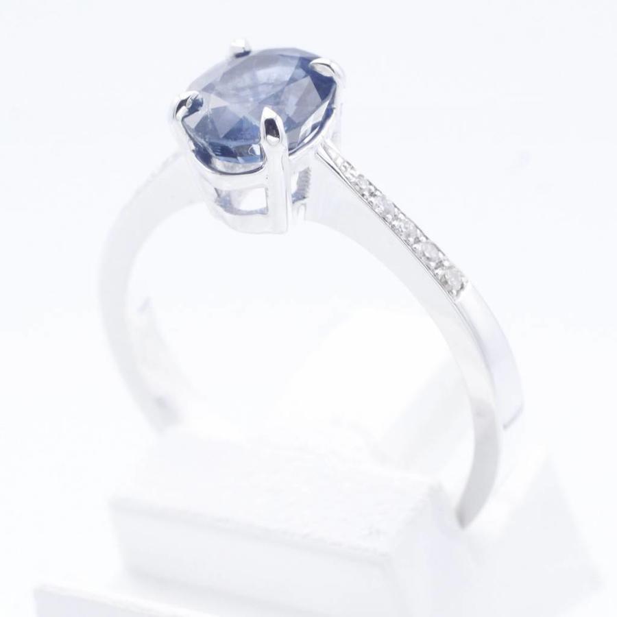 18 kt witgouden ring met natuurlijke Safier en 0.06ct Diamant