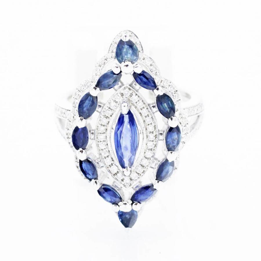 18 krt witgouden marquise ring met 13 natuurlijke saffieren en 1.20 ct Diamant