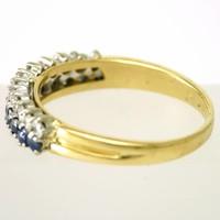 18 krt. bicolor gouden damesring met saffieren en briljanten