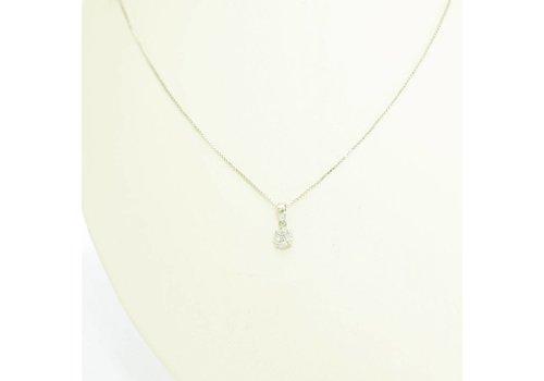 18 krt. set van wit gouden ring en collier + hanger