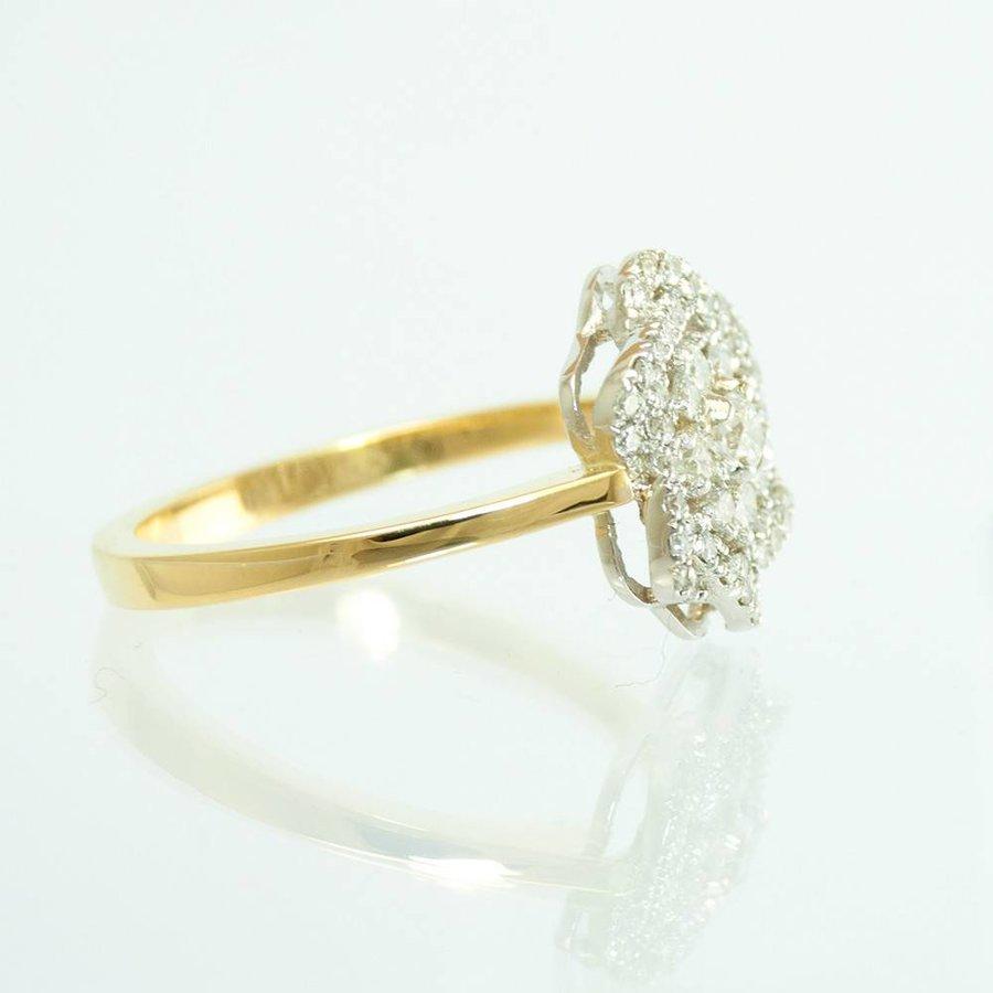 18 krt. bicolor ring met briljanten