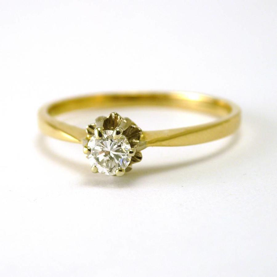 14 karaat geel gouden spiegelchaton ring