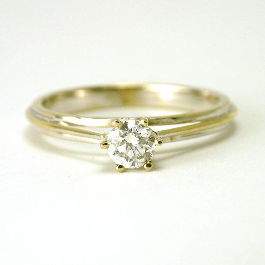 18 karaat wit gouden solitair ring
