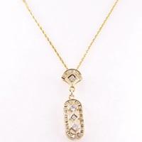 14 krt gouden collier incl. hanger bezet met totaal 0.22ct aan Diamant
