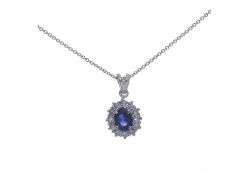 18 krt witgouden collier met Natuurlijke Saffier en 0.30ct Diamant