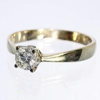 14 krt geel gouden solitair met 0.70ct briljant geslepen Diamant