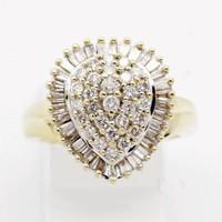 18 krt geel gouden ring met 65 briljant en baquette geslepen Diamanten