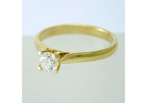 18 krt. geel gouden solitair ring