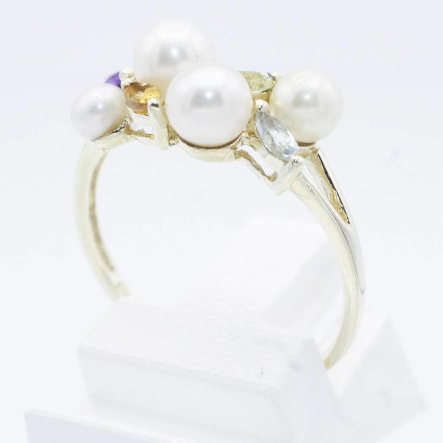 14 krt gouden ring met marqise geslepen edelstenen en cultivé parels