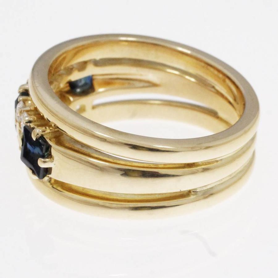 18 krt gouden bandring bezet met 0.16ct aan briljant geslepen Diamant en 3 natuurlijke Saffieren