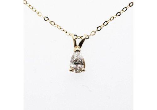14 krt gouden collier met peervormige Diamant van ca. 0.18ct