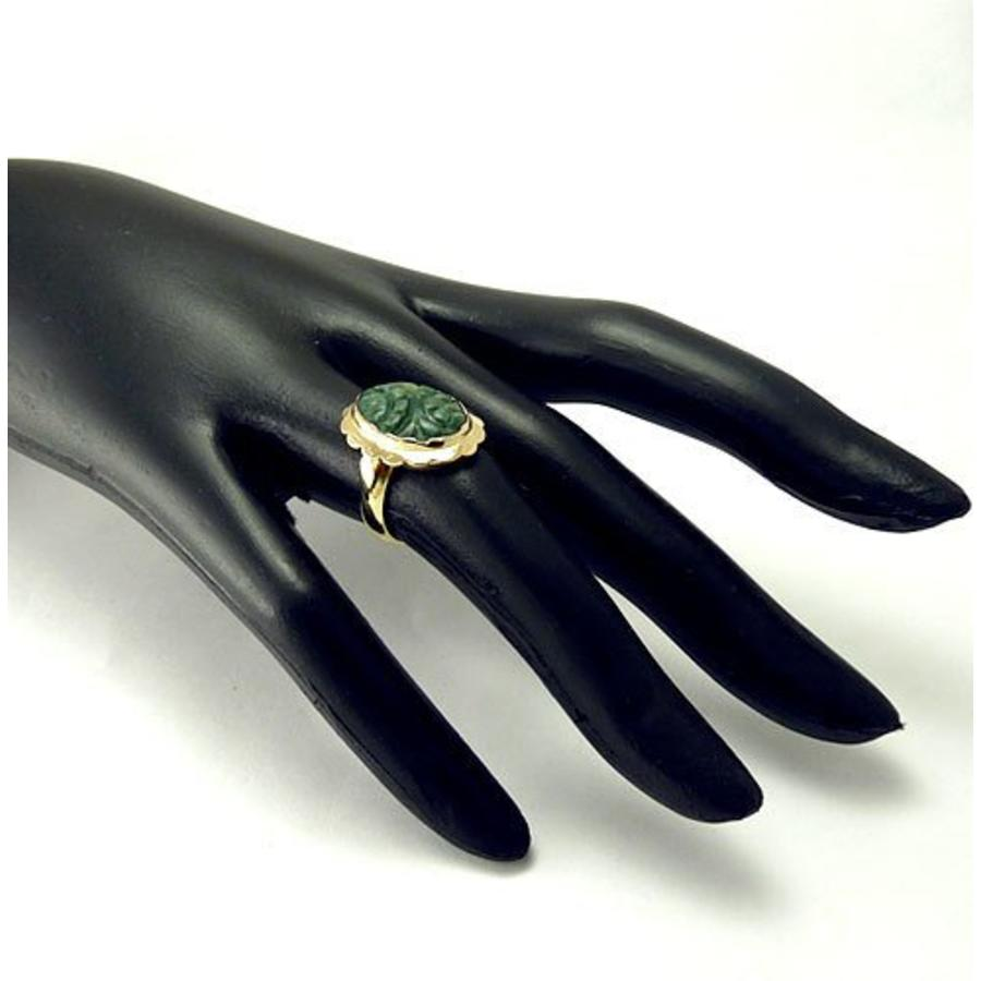 14 krt. geel gouden ring met jade