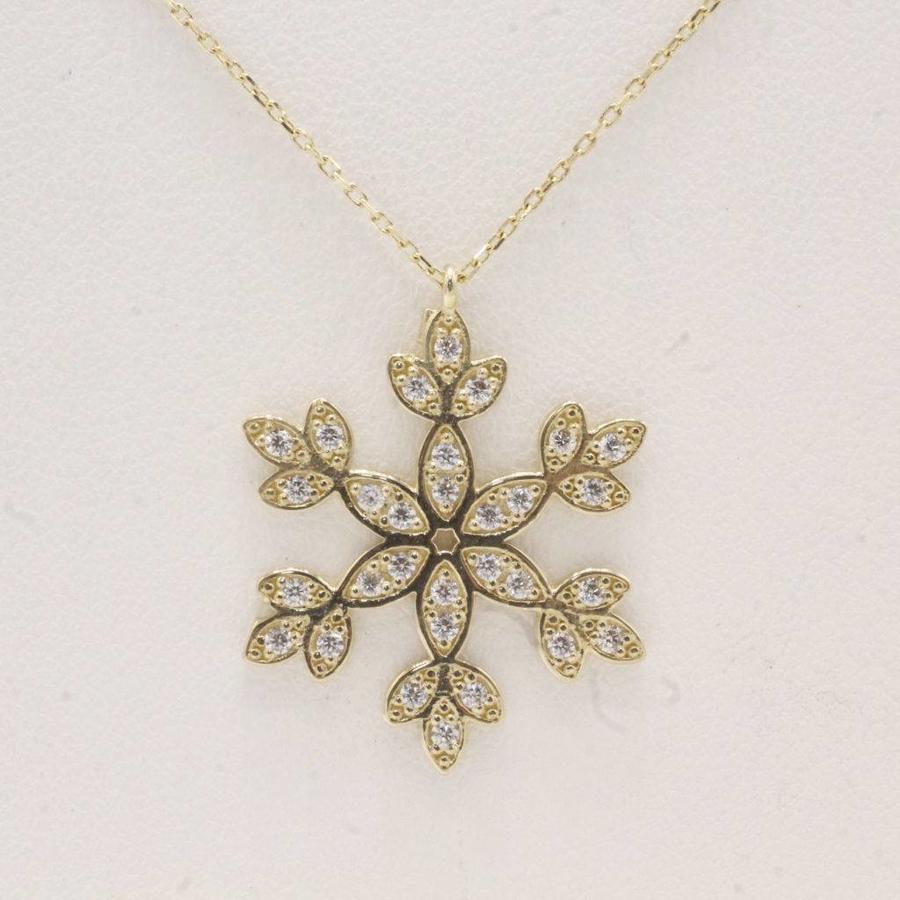 Occasion 14 krt geel gouden collier met sneeuwvlok hanger met zirkonia