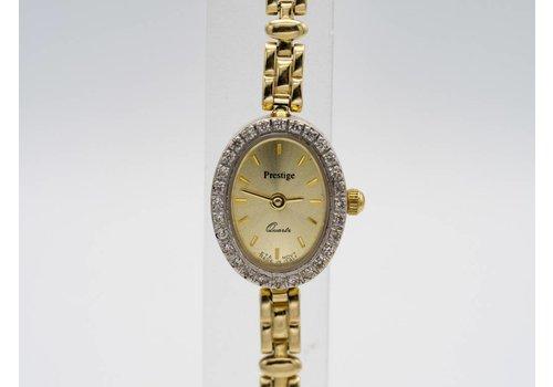 Occasion 14k gouden horloge  met Zirkonia