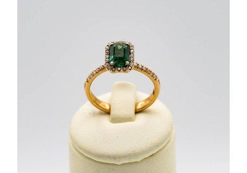 18k rosé gouden ring met Smaragd en Briljant