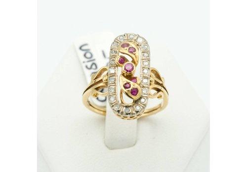 18 krt. gouden ring met Robijn
