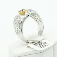 18 krt. bicolor gouden ring met saffier en briljant