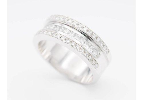 18k witgouden ring met Briljanten en Diamanten