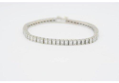 Occasion 18 krt. wit gouden armband met Diamanten