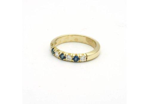14 krt gouden ring met briljant en saffier