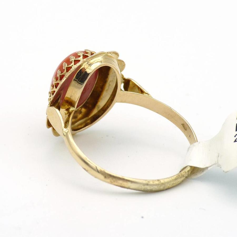 14 krt. gouden ring met bloedkoraal