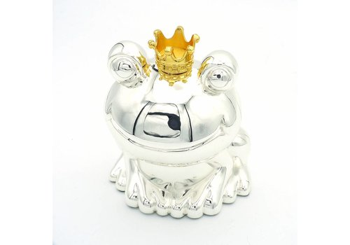 Verzilverde spaarpot kikker kroon 6274 BA