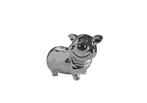 Verzilverde spaarpot lachend varken 6275