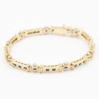 18 krt. gouden armband met saffier en briljant