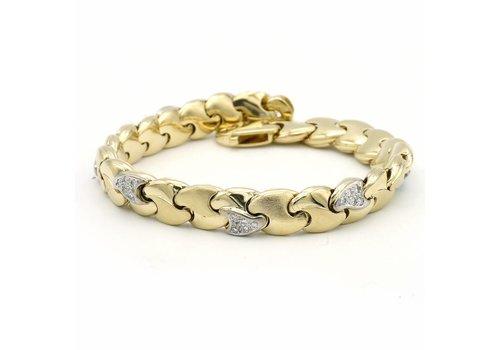 14 krt. geel gouden armband met briljanten