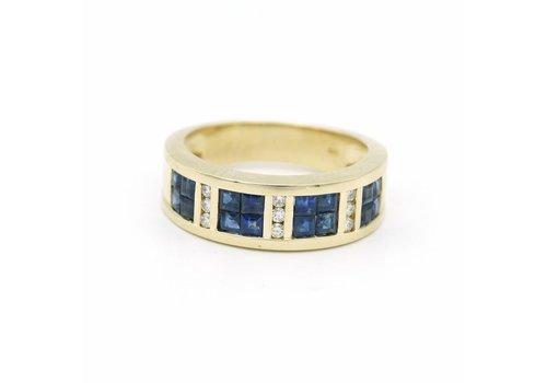 14 krt. gouden ring met briljant en saffier