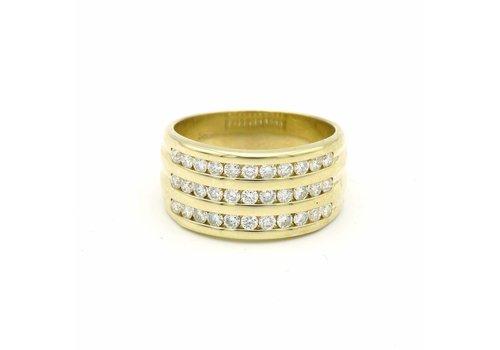 14 krt. geel gouden ring met briljanten