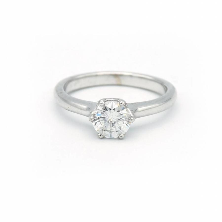 18 krt. wit gouden solitair ring met briljant
