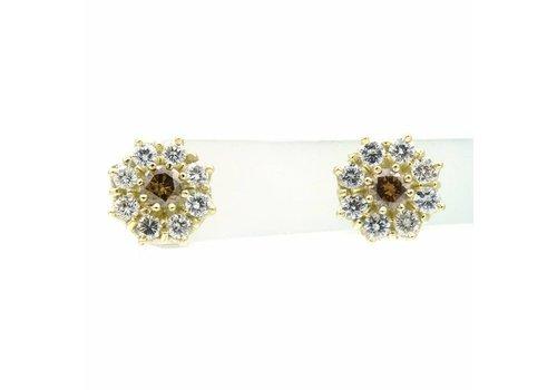 14krt. oorstekers met briljant en diamant