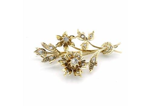 14krt gouden broche met roos geslepen diamant