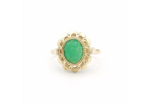 14 krt. gouden ring met een Chrysopraas