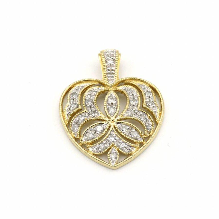 18 krt. geel gouden hanger hart met briljant